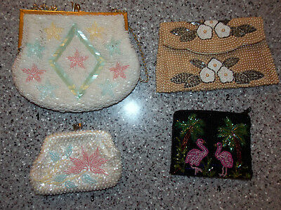 Vintage Lot of 4 Coin & Clutch Purses: Beaded & Sequined