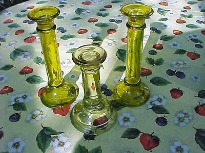 "3 Yellow Glass Candlesticks Holders a 7 5/8"" Tall Pair & a 6"" Tall"