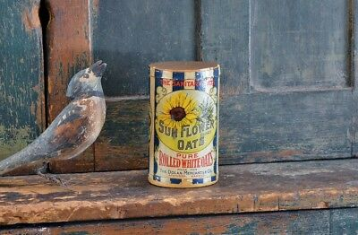 Antique Sun Flower Oats Rolled Oats Container *