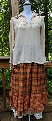 Vintage Native American Indian Beaded Shirt Kimo Sabe Skirts Size S-M Flawed