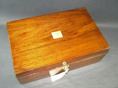 Antique Rosewood Document Box Working Lock & Key c 1870  Mother Of Pearl Center