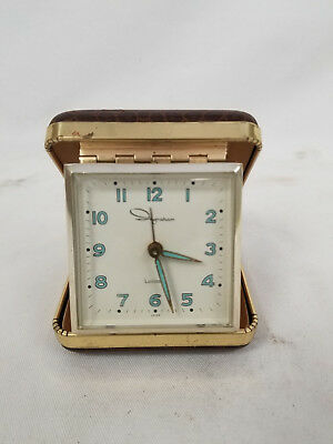 Vintage Ingraham Travel Alarm Clock Pocket Watch Travel Case Antique