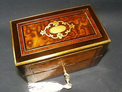 Antique Inlaid Center Brass Box Working Lock & Key c 1880 Ash With Brass Edging