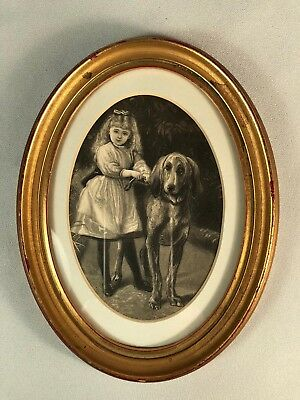 Vintage Framed Engraving Of A Young Girl And A Bloodhound Dog, Charming!