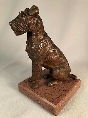 Large Antique Bronze Airedale Terrier Made In Vienna By Cross, Outstanding!