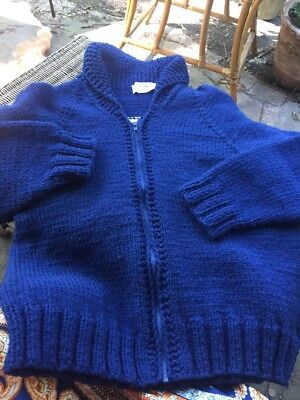 Hand knitted  Large Sweater  With Wolf / Malamute/ Husky Dog On Back Of Sweater
