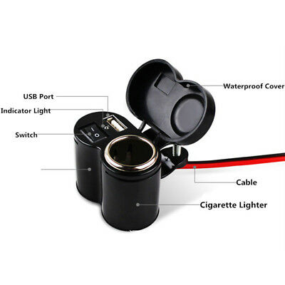 Motorcycle Motorbike 12 volt Bike Cigarette Lighter Socket Phone MP3 USB Charger