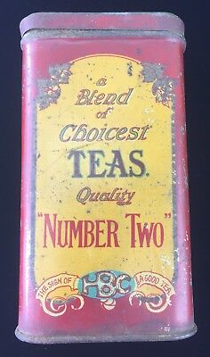 Rare RED Antique 1880's Hudson Bay Company Tea Tin Number Two