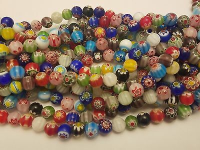 Handmade Millefiori Glass Flower Mixed Color Beads, Round, 10mm, hole: 1mm