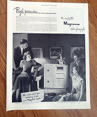 1948 Magnavox Radio Phonograph Ad Prized Possession in smart young Homes