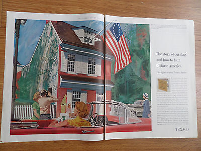1959 Texaco Gas Oil Ad The Story of our Flag Betsy Ross in Philadelphia, PA