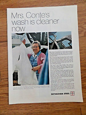 1970 Bethlehem Steel Ad Mrs Anna Conte Steelton PA Wash is Cleaner Now