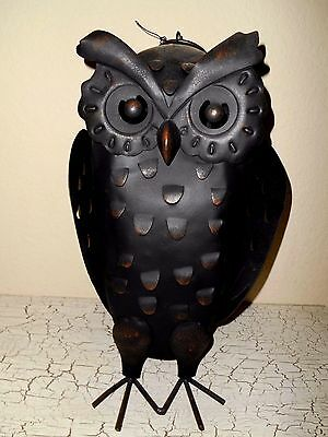 Pottery Barn HALLOWEEN Black Barn Owl Luminary Candle Holder