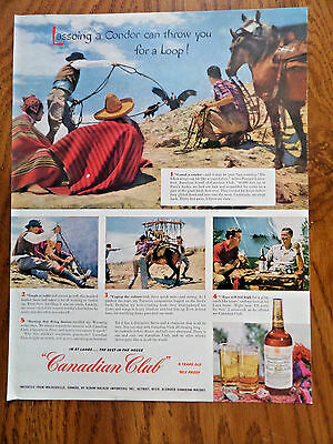 1953 Canadian Club Whiskey Ad Lassoing Condor Peru's Andes Chesterfield Ad Como