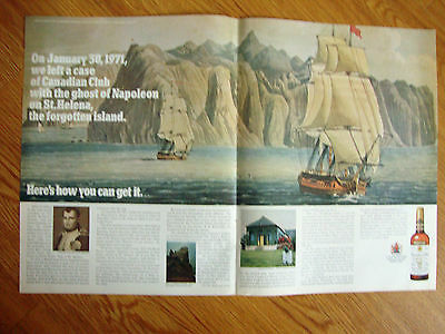 1971 Canadian Club Whisky Ad Left A Case on St Helena Island Napoleon Ghost