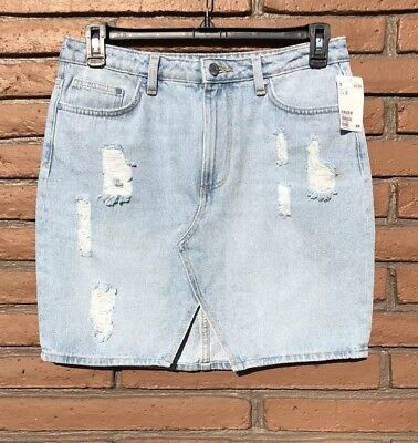 e23ad582b NEW H&M Women's Distressed Light Blue Denim Jean Skirt Size 12 Split In  Front
