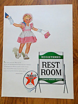 1953 Texaco Gasoline Ad   Registered Rest Room