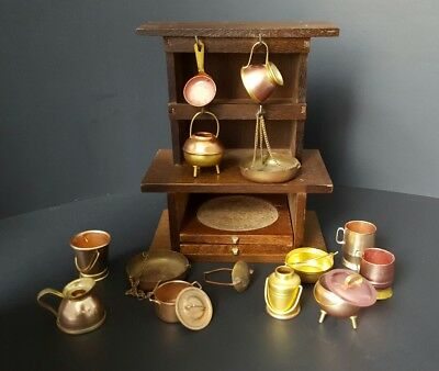 Dollhouse Artisan Miniatures Copper Pots Wood Kitchen Cupboard coasters 1:12