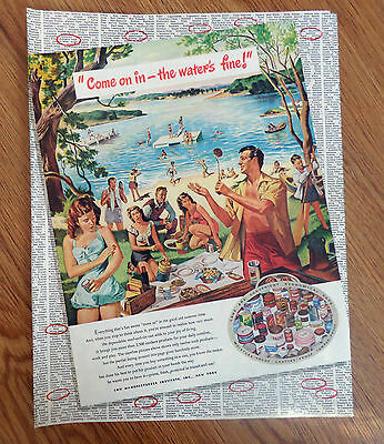 1948 Can Manufacturers Institute New York Ad Family Picnic at the Beach Swimming