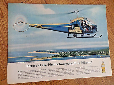 1956 Schweppes Soda Pop Ad Commander Whitehead's Helicopter 47H Bellairus