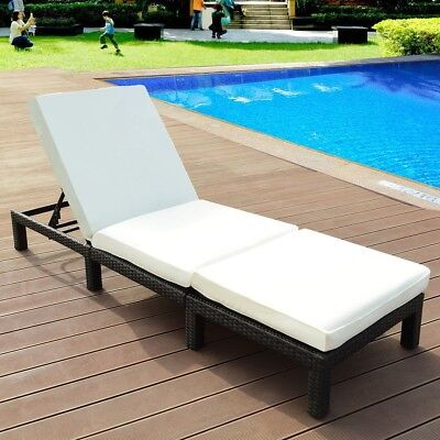 Tremendous Outdoor Adjustable Pool Rattan Chaise Lounge Chair Patio Ncnpc Chair Design For Home Ncnpcorg