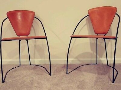 Rare MCM Style Rose Uniacke Leather Y Dining Side Chairs Italy