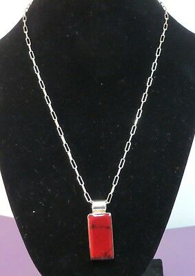 Sterling Silver 14.8 gr Red Marbled Stone Silver Frame Rectangular Pendant Chain