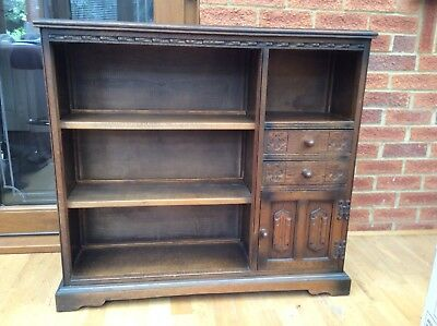 Old Charm Oak Two Drawer Bookcase