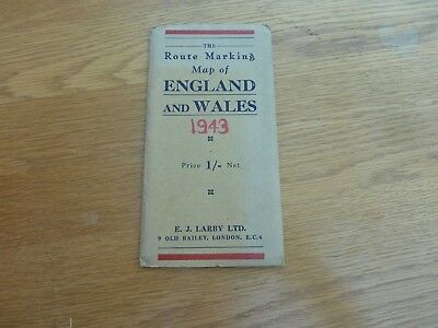 1943 Dated Route Marking Map Of England & Wales Larby 16 Mile To Inch