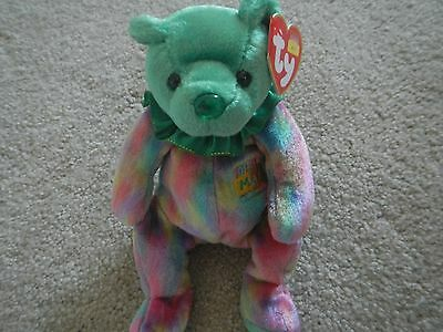 Ty Beanie Baby -  May -  Gorgeous Birthday Bear - Birthstone Nose:  Emerald