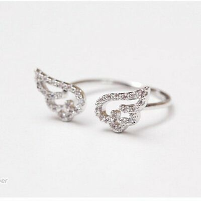 Adjustable Angel Wings Crystal CZ Silver Rings Women Wedding Ring Jewelry Gift