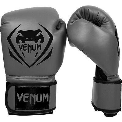 Venum Contender Boxing Gloves Grey Sparring Muay Thai MMA Kickboxing 10 14 16oz