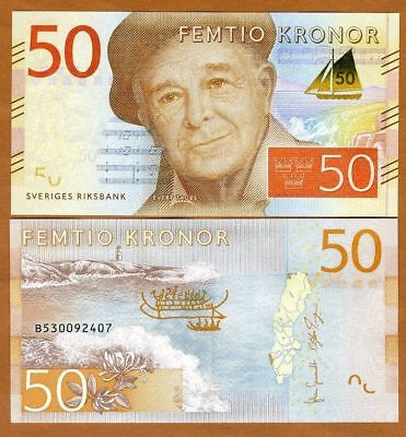 Sweden 20 Kronor P70 New Unc Banknote 2015 Low Shipping