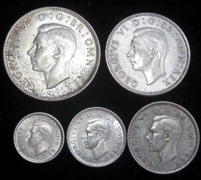 1942 Great Britain 1/2 Crown, 2 Shillings, 1S, 6P, 3P-5 Silver Coins (XF+ to AU)