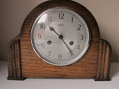 Vintage Bentime England Art Deco Mantel Clock 29cms Wide Working