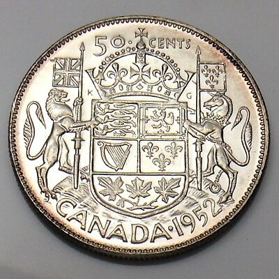 1952 Canada 50 Fifty Cents Half Dollar Choice Uncirculated Coin F933