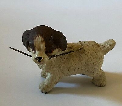 Lead Painted Dog Figurine Puppy Stick in Mouth Germany Vintage Antique