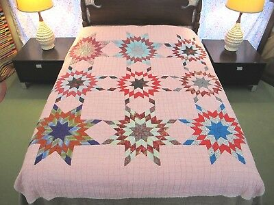 STRIKING Vintage OLD All Cotton Hand Sewn TOUCHING STARS Quilt, FULL, Very Good!