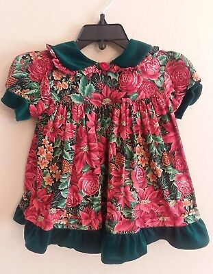 VTG Baby Girls Dress Holiday Floral Print Sz 18 Mths