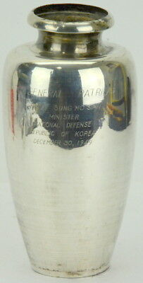 Vintage Sterling SilverWWII Korean War Presentation Trophy Vase Gen. Patridge