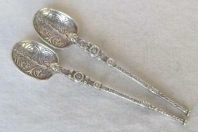 An Antique Pair Of Solid Sterling Silver Edwardian Anointing Spoons London 1901.
