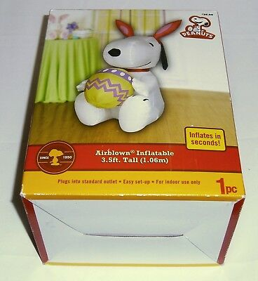 Peanuts Snoopy 3.5ft Inflatable w/Bunny Ears and Easter Egg 2010 Lightly Used