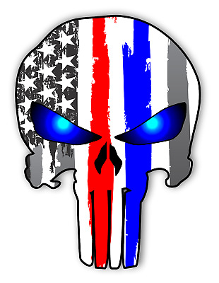 """Punisher Skull Police & Fire Sticker Blue Red Thin Line Vinyl Decal USA 5"""" tall"""