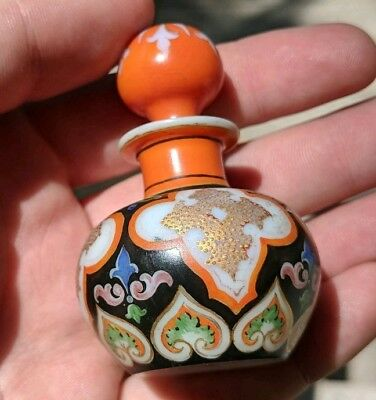 French Perfume Bottle, Enameled White Satin Glass c. 1870