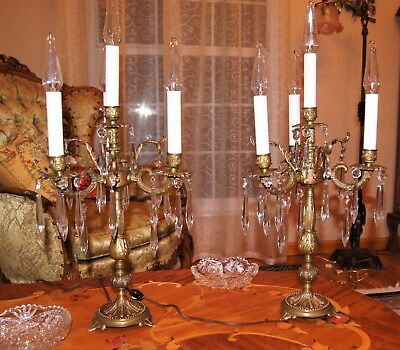 2 Ea. Vtg French Spain Cast Brass Lamps Candelabras Crystal Chandeliers Fixtures