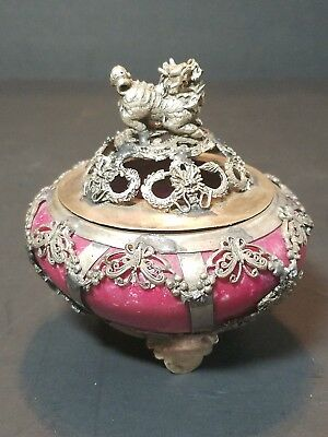 CHINESE SILVER INLAY OLD JADE HAND MADE INCENSE BURNER & LID With FOO DOG Signed