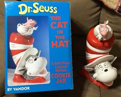 Limited Edition Vandor Cookie Jar Dr Suess Cat In The Hat 2005 Ceramic NIB