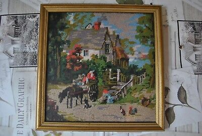 "Lovely completed tapestry/needlepoint picture ""The Haywain"" Country Scene 12x12"""