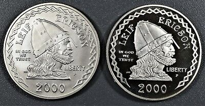 2000-P/P LEIF ERICSON FOUNDER $1 PROOF & BU SILVER Dollars *COINS ONLY* A6841