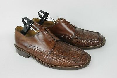 Mercanti Fiorentini Mens Brown Leather Woven Shoes Size 10 M Made in Italy